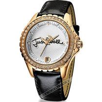 Relógio Feminino Just Cavalli Preto Dourado Couro Luxo Mk