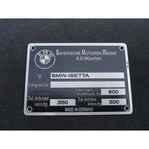 Plaqueta Tarjeta De Identificação Bmw Romi-isetta 59 À 61