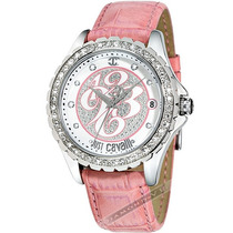 Relógio Feminino Just Cavalli Rosa Prata Couro Cristais Mk