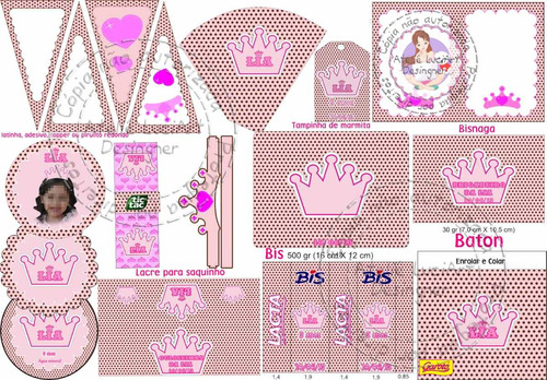 festa jardim da princesa : festa jardim da princesa:Kit Festa Tema Coroa Princesa Marrom E Rosa Poá (Convites) a BRL 49.9