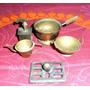 Brq - Lote De Miniaturas Cozinha Em Metal Latão Conservadas