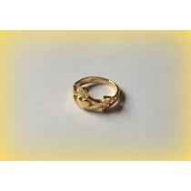 Anel Claddagh Celtic Knot - Prata Ouro 18k - A R O S 17 - 20