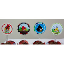 100 Mini Toppers Angry Birds Personalizados!