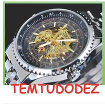 Relógio Jaragar Transparent Skeleton De Luxe - Com Estojo
