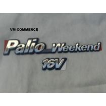 Emblema Cromado Fiat Palio Weekend 16v Com Fundo Azul 96/00