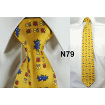 Gravata Vintage Seda Pura Mostarda Estampada Belissima N79