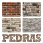 Adesivo De Parede Textura Pedra Mármore Tijolos