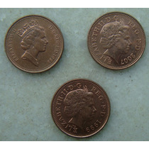 137 Inglaterra One Penny 3 Moedas 1993, 2007, 1999 - 20mm
