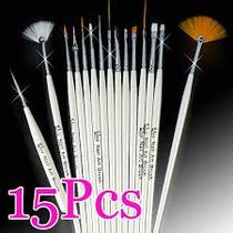 Kit Com 15 Pincéis Para Decoração De Unhas - Branco + Brinde