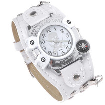 Relógio Bracelete De Couro: Metal Piratas. Branco.