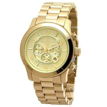 Relógio Michael Kors Mk8077 Dourado Gold Oversize Original