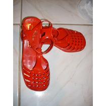 Sandália Em Plástico Estilo Aranha Vermelha 35 Linda!