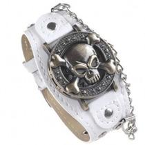 Relógio Bracelete De Couro Piratas Rock. Frete Grátis.