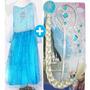Vestido Elsa Frozen Fantasia Infantil Grátis Acessórios