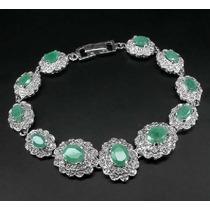Pulseira De Prata 925 Com Esmeraldas Naturais