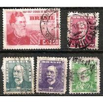 065 Sls- Brasil- 5 Selo Postal Antigo- Carimbado- 1954- 1957