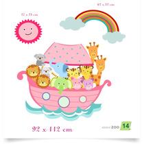 Adesivo De Parede Bebê Árvore Zoo 14 Arca De Noe Noé Menina
