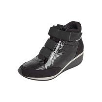 Sneaker Piccadilly Casual Cano Médio Salto Anabela Preto