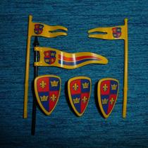 Brq - Playmobil 3 Escudos 3 Bandeirolas Medievais Flor Lis