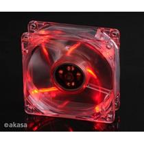 Cooler Fan 80mm Akasa Leds Vermelho Ak170cb-4rds 3/4 Pinos