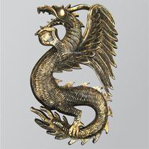 Dragão Chinês De Parede Dourado - Quadro - Mod.4010