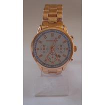 Relógio Feminino Dourado Pulseira De Metal! ***modelo Novo