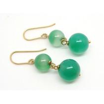 Joalheriavip Brincos Jades Verde Esmeralda Ouro 18k
