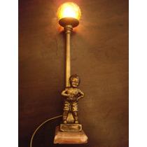 Luminaria De Mesa Em Petit Bronze Com Globinho Linda