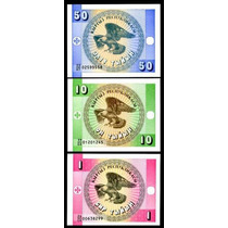 Lote 3 Cédulas Do Quirgistão 1 10 50 Tyiyn 1993 Todas Fe