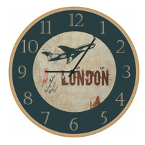 Relógio De Parede London - Vintage - Retrô - Avião - Rústico