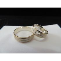 Par De Alianças Em Prata Com Filetes De Ouro 12k
