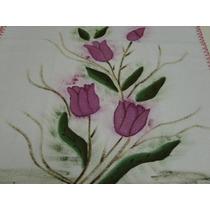 Pano Prato Tulipas Pink Com Croche - Pp002
