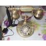 Telefone Antigo Em Onix Verde Com Metal Dourado