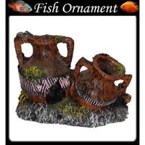 Enfeite Aquario De Resina 2 Jarros Com Corais Fish Ornament
