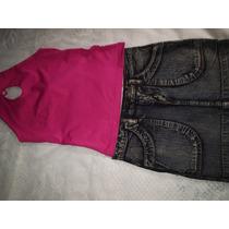 Mine Saia Jeans Blusa Frente Unica Pink Tamanho 36