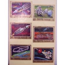 Cartela 06 Selos Manama Lote Filatelia Apollo 13 Espaço