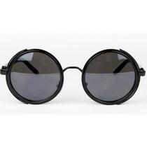 Oculos De Sol Lentes Redondos Cor Preta Jhon Lennon C/ Prot