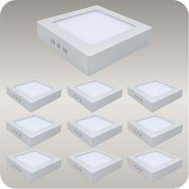 10 Peça Plafon Luminaria Sobrepor Teto Led Quadrado Spot 12w
