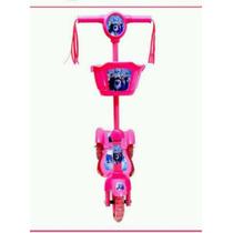 Patinete Infantil Musical C/ Luzes 3 Rodas Frozen E Marvel