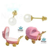 Nicaya Brinco Pérola Baby/bebê 3mm Ouro18k+caixa