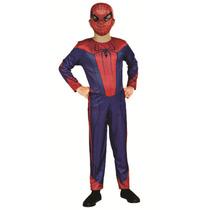 Fantasia Homem Aranha Longa C/máscara De Plástico Original