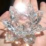 Flor De Lótus De Cristal Transparente Brilhante 8cm