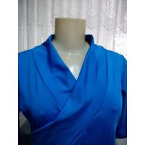 Blusa Feminina Azul Com Lycra - Linda!