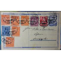 Alemanha (1 9 2 3) Inteiro Postal Circulado 8 Selos Inflação