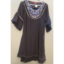 Vestido Crepe Chocolate Forrado Bordado