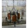 Ca721 - Lustre Artesanal Ferro Com Telha Colonial - Arte Mg