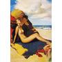 Poster Cartaz Pinup Mulher Nua Praia Chinelo Vermelho Usa