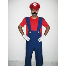 Fantasia Super Mario Bros Luxo Adulto Festa Carnaval Tam G