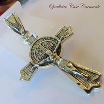 Crucifixo Medalha Dupla D São Bento Prata Maciça Código 2219