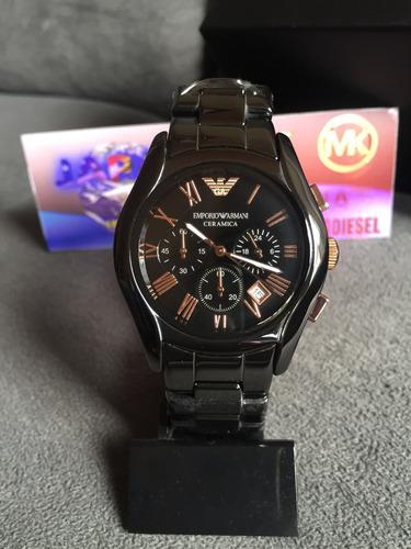 d840a2ed635 Relógio Emporio Armani Ar1410 Cerâmica Preto E Rose Original